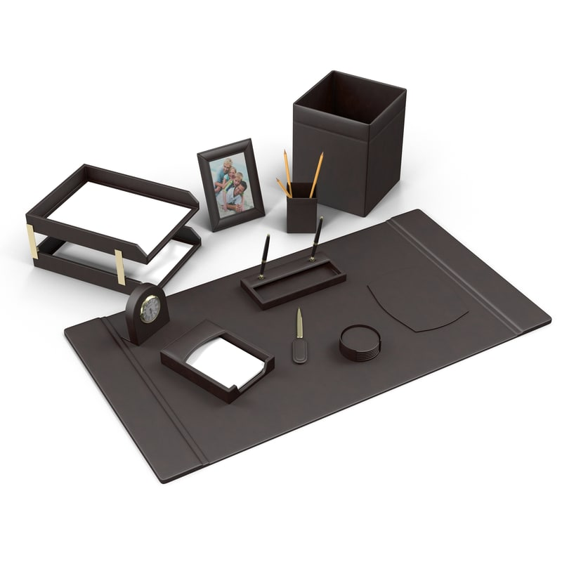 3d model leather desk set