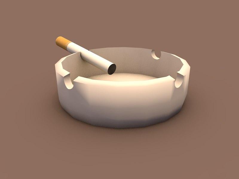 3d ashtray cigarette model