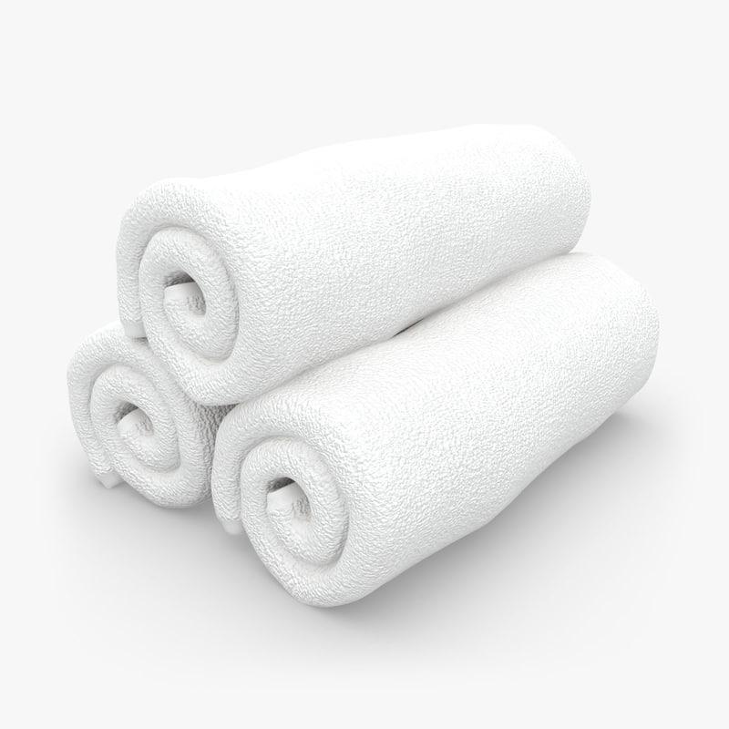 towel roll white 3d model