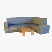 3d cloth corner sofa model