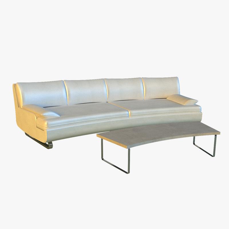 large luxury leather sofa 3d model