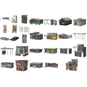 town buildings accessories shanty pz3