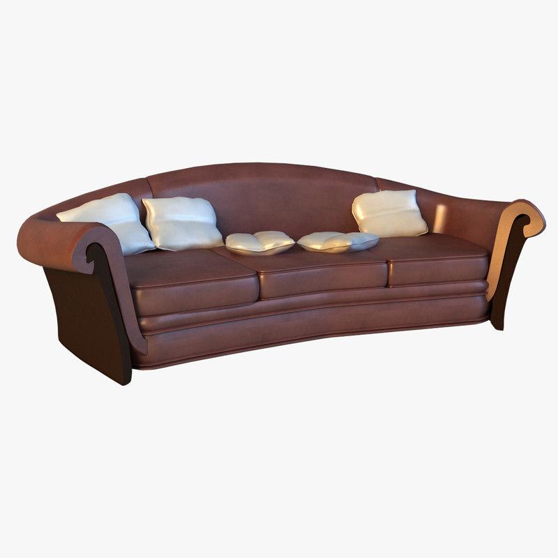 large luxury classic leather sofa 3d model