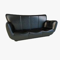 large luxury black leather 3d model