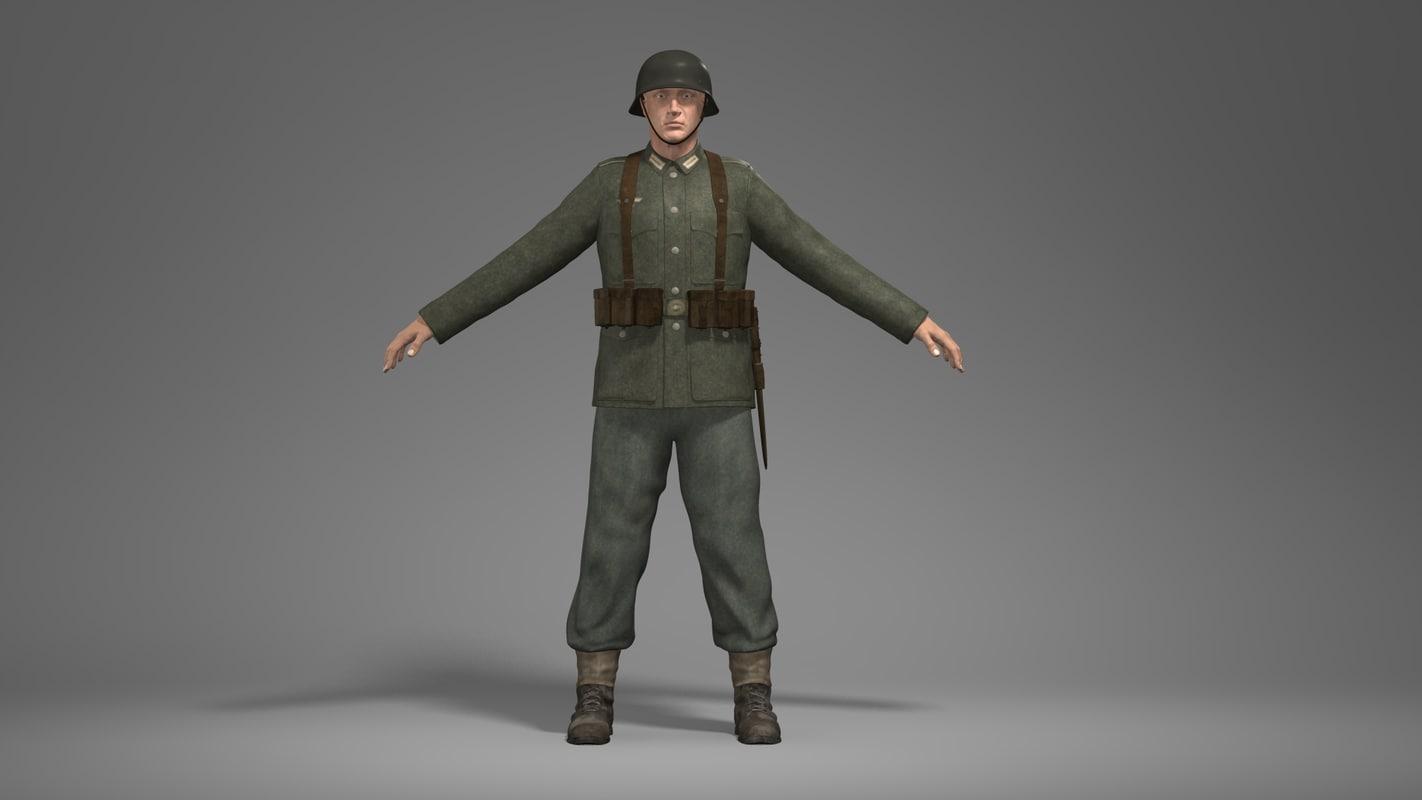 3d wwii german soldier
