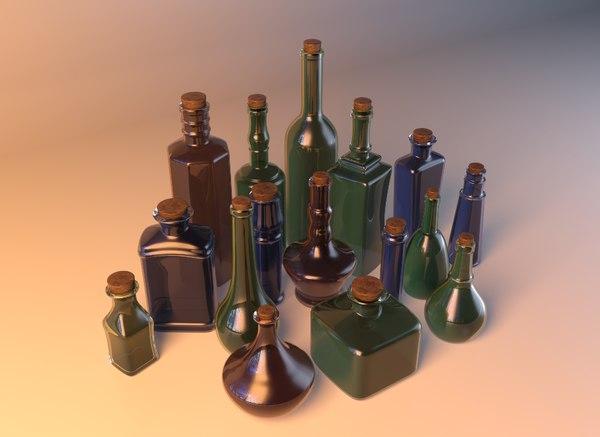 3d potion bottles