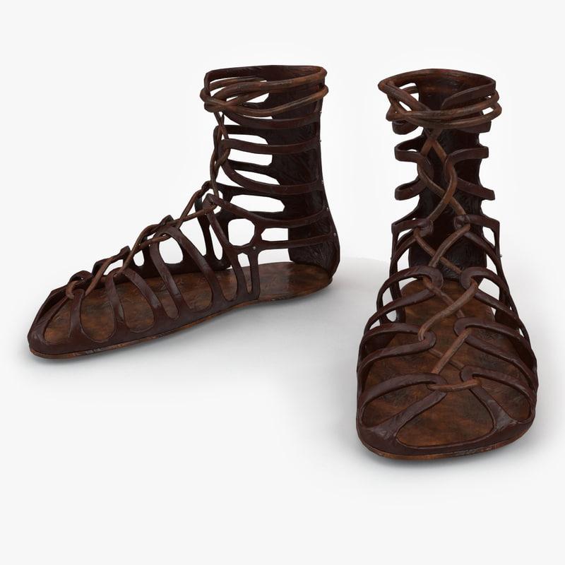 3d roman sandals