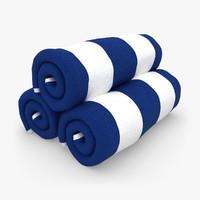 towel roll blue white 3d 3ds