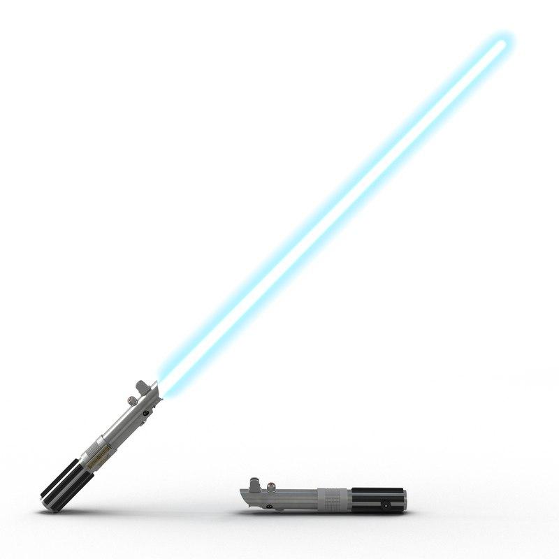 3d luke skywalker lightsaber used model