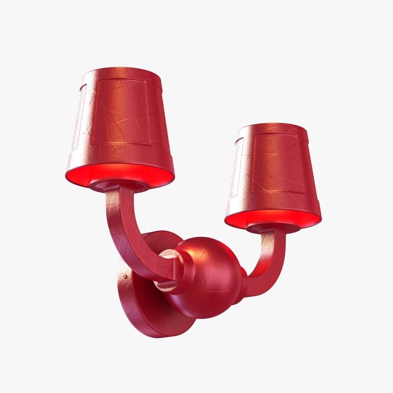 3d wall lamp paper studio model