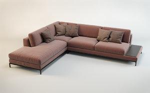 sofa artis leather italian 3d model