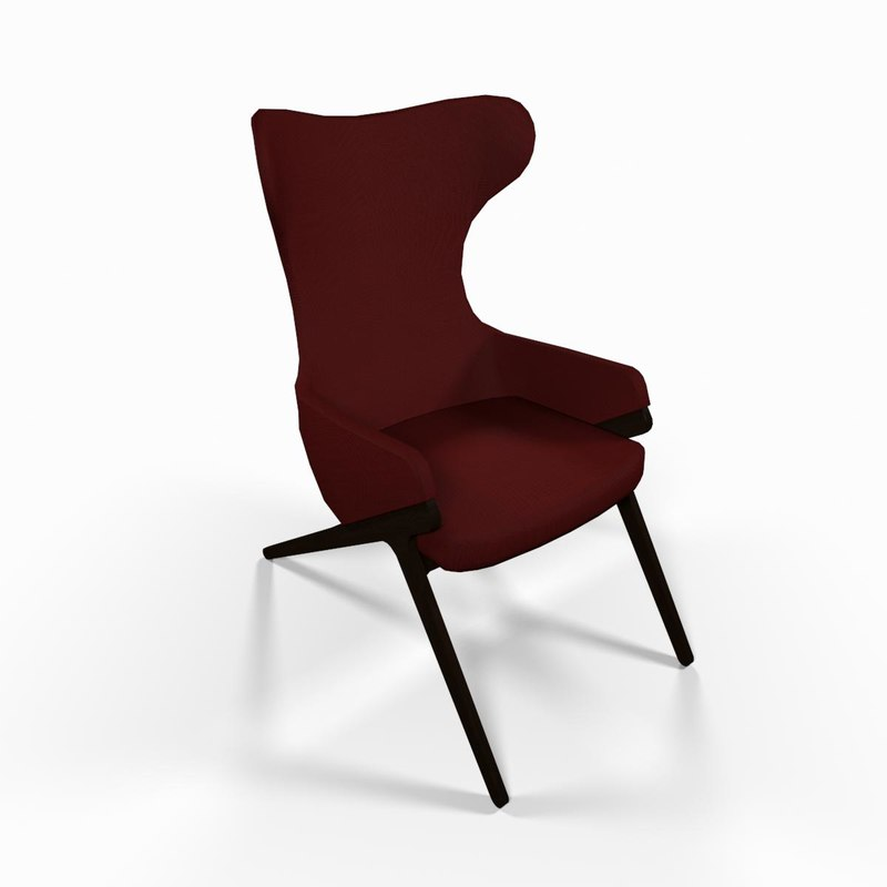 3d max reading chair red fabric