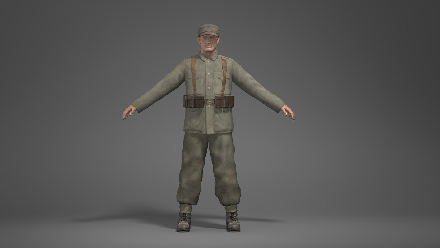 3d wwii german soldier