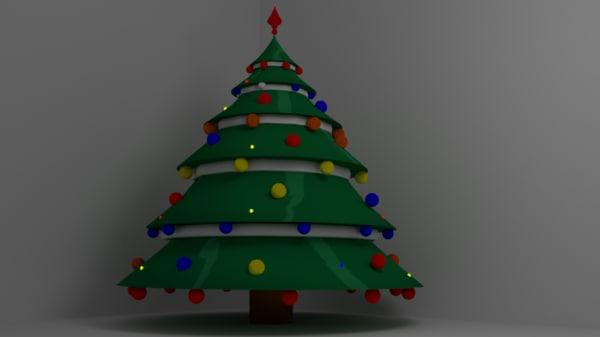 christmas tree cartoon 3d model