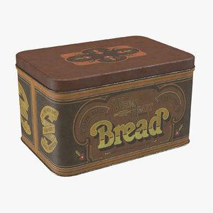 vintage kitchen tin bread 3d model