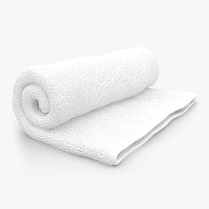 3d towel roll open white