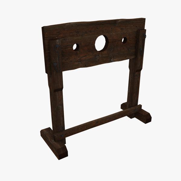 medieval pillory stocks fantasy 3d model