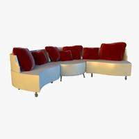 3d model large luxury folding leather sofa