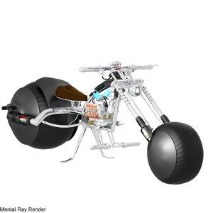 futuristic chopper motorcycle 3d model