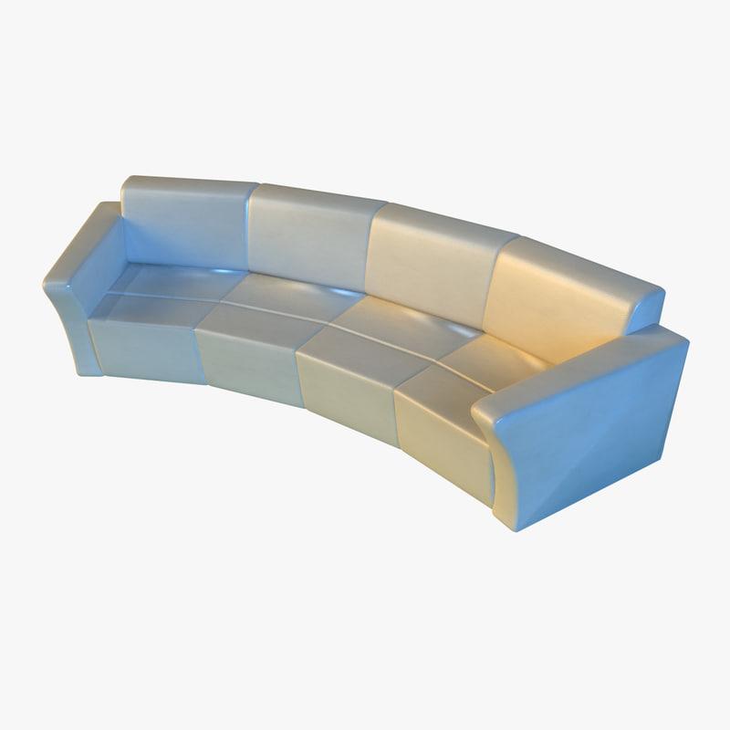 3d large luxury leather sofa model