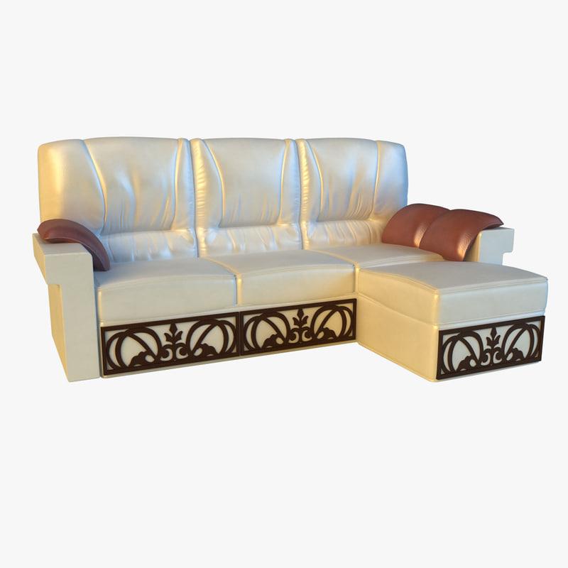 leather corner sofa wood 3ds