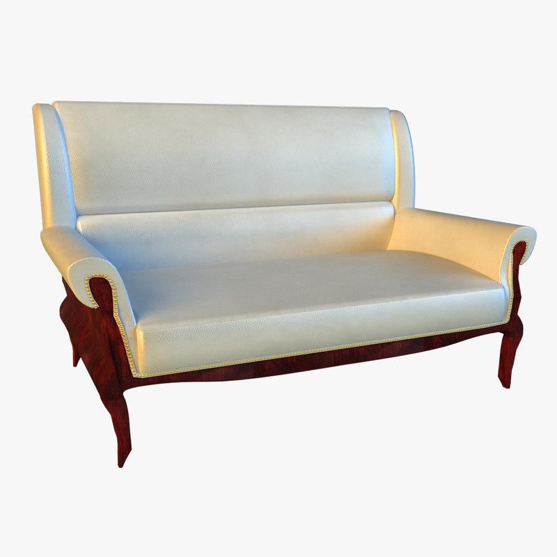 3d large classic leather sofa model