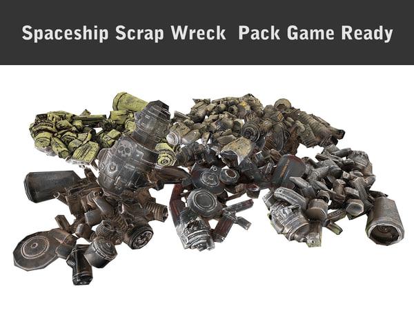 3d model of spaceship scrap wreck