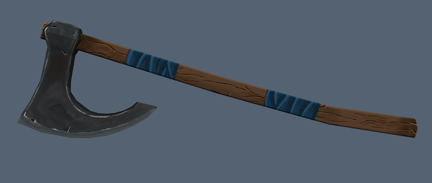 3d hand painted axe model