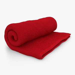 3d towel roll open red model
