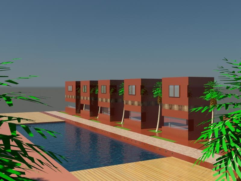 3d model panorama cartoon houses