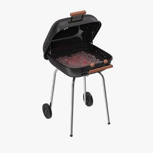 3d model square bbq grill