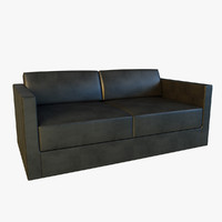 black leather sofa 3d model