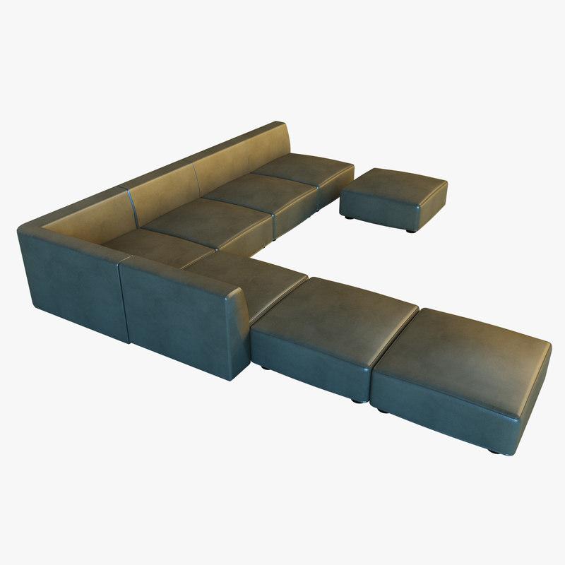3d leather big corner sofa model