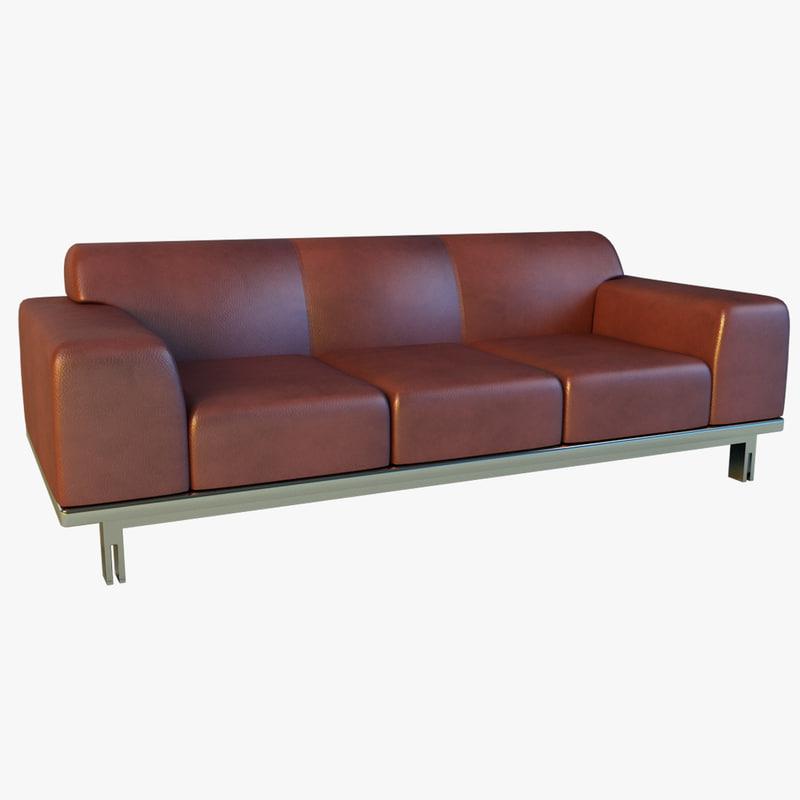 leather sofa steel 3d obj