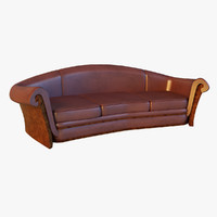 3d large classic leather red model