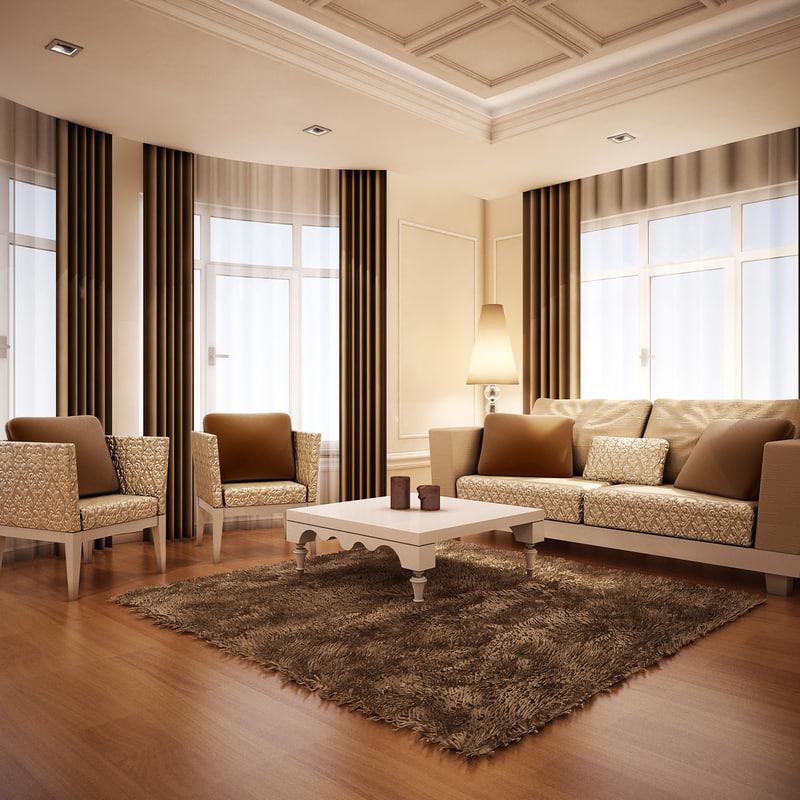 3d model living room interior