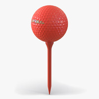 golf ball tee red c4d