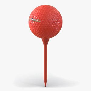 golf ball tee red c4d