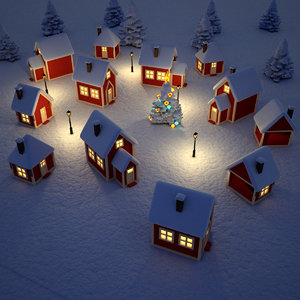 3d max christmas village