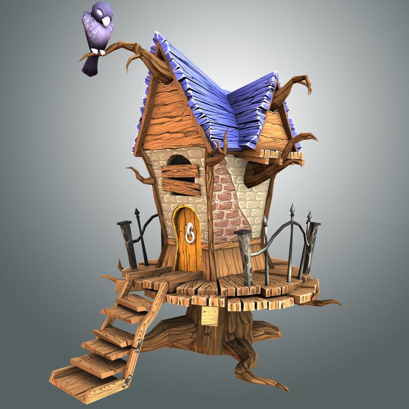 creepy house 3d obj