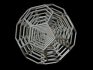 3d 0010 8-grid truncated icosahedron model