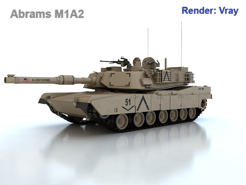 abram m1a2 battle tank obj