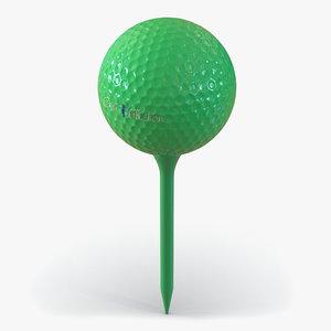 3d model golf ball tee green