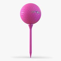 3d model golf ball tee pink
