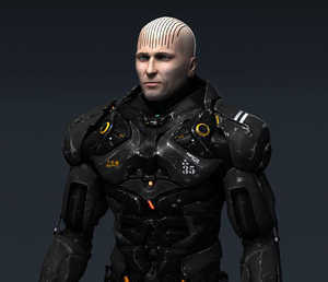 3d model cyborg polygons