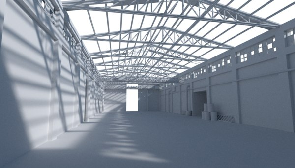 3d model hangar building warehouse
