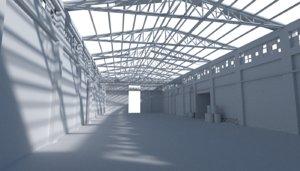 3d model hangar building warehouse