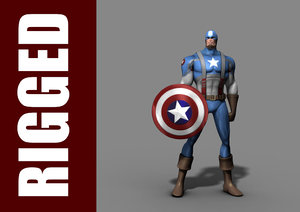 3d model captain america rig character
