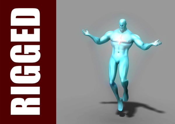 free captain atom rig character 3d model