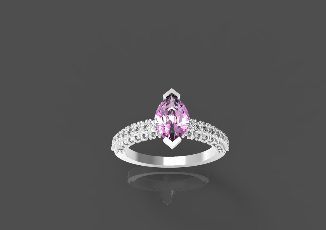 ring engagement gem 3d model